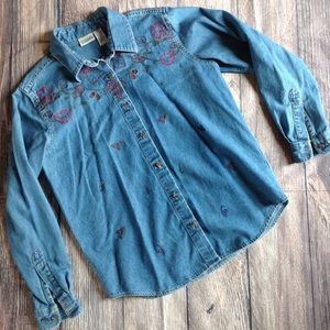 Tops - Denim Embroidered Button Down Top